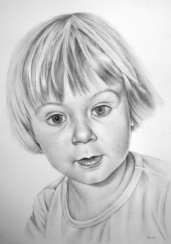 Drawings in pencil of people